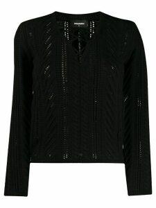 Dsquared2 crochet tie neckline jumper - Black