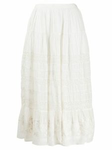 Love Shack Fancy Donna embroidered skirt - White