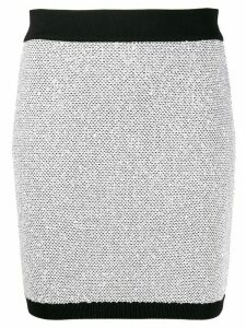 Balmain metallic thread fitted skirt - SILVER