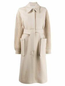 Ba & Sh Calas knit sleeve coat - NEUTRALS