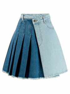 McQ Alexander McQueen pleated denim asymmetric skirt - Blue