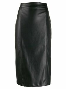 be blumarine fitted leather effect pencil skirt - Black
