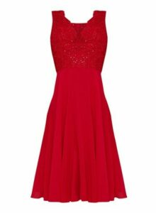 Womens *Chi Chi London Red Embellished Midi Skater Dress, Red