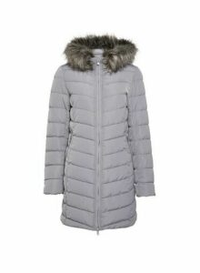 Womens **Only Grey Quiled Coat, Grey