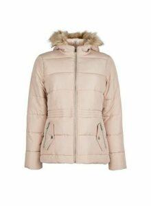 Womens Petite Pink Hooded Coat, Pink