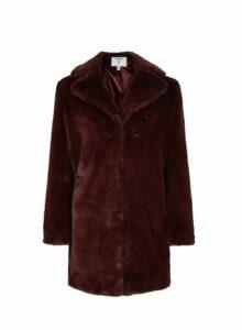 Womens Petite Red Faux Fur Coat, Red