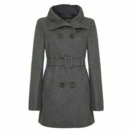 Jumpo  - Womens Wool Hooded Belted Breasted Coat  women's Trench Coat in Grey