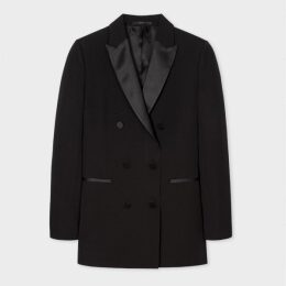 Women's Black Double-Breasted Tuxedo Blazer With Satin Details