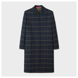 Women's Navy Windowpane Check Cotton-Blend Coat