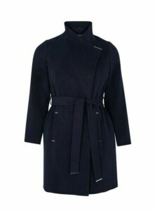 Navy Blue Tie Front Coat, Navy