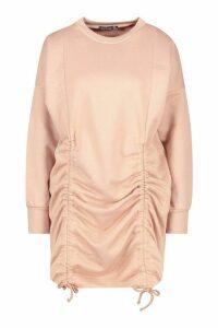 Womens Petite Ruched Sweat Dress - beige - 14, Beige