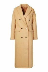 Womens Tall Double Breasted Longline Wool Coat - beige - M, Beige