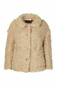 Womens Plus Teddy Faux Fur Pea Coat - Brown - 20, Brown