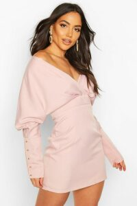 Womens Off The Shoulder Mini Dress - pink - 14, Pink