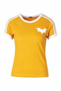 Womens Jersey T-Shirt With Contrast Stripes And Print - yellow - 16, Yellow