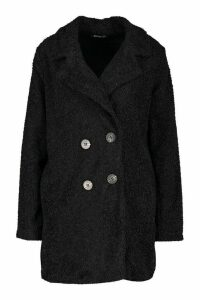 Womens Teddy Faux Fur Coat - black - 12, Black