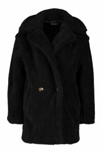 Womens Oversized Double Breasted Teddy Faux Fur Coat - black - M, Black