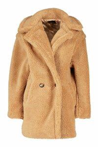 Womens Oversized Double Breasted Teddy Faux Fur Coat - beige - M, Beige