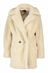 Womens Oversized Double Breasted Teddy Faux Fur Coat - white - M, White