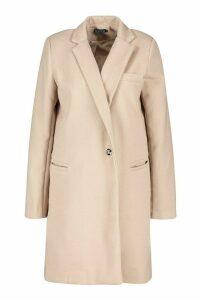 Womens Military Wool Look Coat - beige - 14, Beige