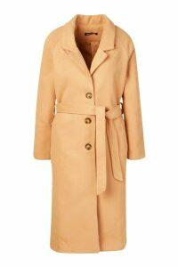 Womens Longline Drop Shoulder Wool Look Coat - beige - 14, Beige