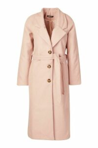 Womens Longline Drop Shoulder Wool Look Coat - pink - 14, Pink