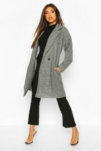 Womens Luxe Brushed Wool Look Button Through Coat - grey - 14, Grey