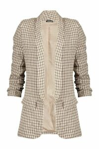 Womens Dogtooth Check Ruched Sleeve Blazer - brown - 14, Brown