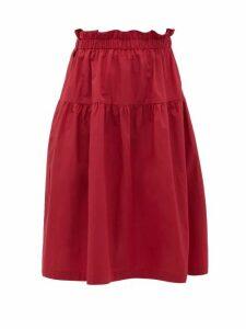 Araks - Ulu Ruffled Cotton Skirt - Womens - Burgundy