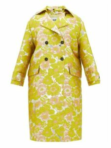 Msgm - Double-breasted Floral Brocade Coat - Womens - Yellow