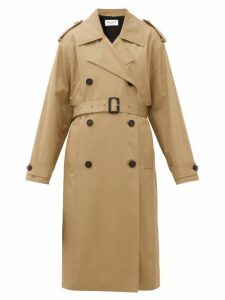 Saint Laurent - Exaggerated-collar Cotton Trench Coat - Womens - Beige