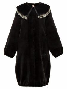 Shrimps - Weston Crystal-embellished Faux-fur Coat - Womens - Black