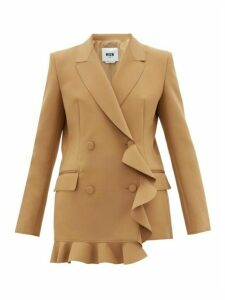 Msgm - Double-breasted Ruffled Crepe Blazer - Womens - Camel