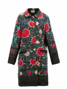 By Walid - Zosia Floral-embroidered Cotton And Silk Coat - Womens - Black Red
