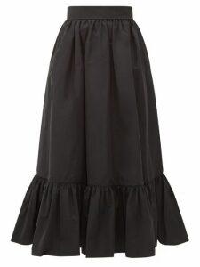 Valentino - Ruffled-hem Cotton-blend Faille Midi Skirt - Womens - Black