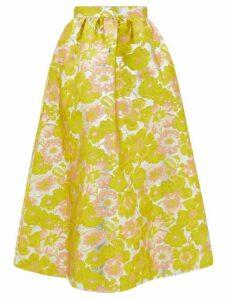Msgm - Floral-brocade High-rise Midi Skirt - Womens - Yellow
