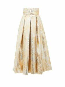 Sara Battaglia - Belted High-rise Palm-leaf Brocade Midi Skirt - Womens - Gold Multi