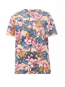 Mary Katrantzou - Tierny Rose-print Cotton T-shirt - Womens - Pink Multi