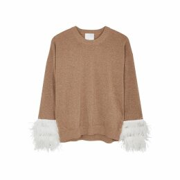 IN. NO Crystal Brown Feather-trimmed Wool-blend Jumper