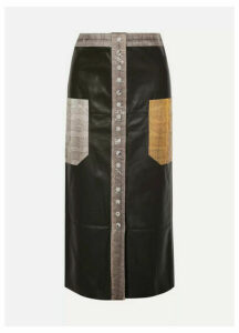 By Malene Birger - Amalin Watersnake-trimmed Leather Midi Skirt - Black
