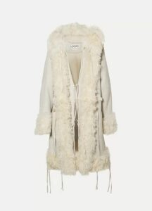 Loewe - Oversized Hooded Shearling Coat - Off-white