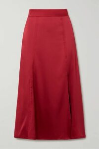 Stine Goya - Jada Satin Midi Skirt - Crimson