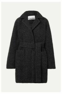 GANNI - Belted Wool-blend Bouclé Coat - Gray