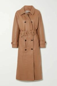 MUNTHE - Belted Double-breasted Leather Trench Coat - Camel