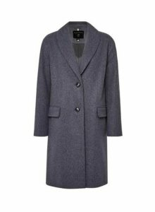 Womens Blue Shawl Collar Coat, Blue