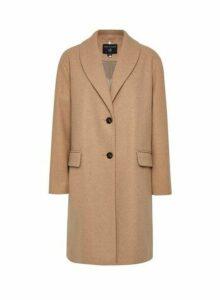 Womens Camel Shawl Collar Coat- Brown, Brown