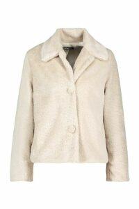 Womens Faux Fur Button Coat - white - 16, White