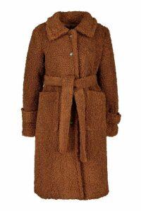 Womens Longline Teddy Belted Coat - beige - 8, Beige