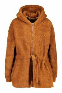 Womens Oversized Hooded Belted Faux Fur Teddy Coat - beige - 16, Beige