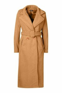 Womens Petite Premium Textured Wool Look Belted Coat - beige - M, Beige